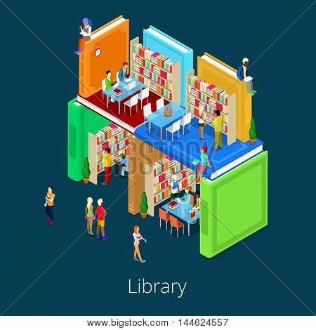 Isometric Library Building from Books with People. Educational Concept. Vector illustration