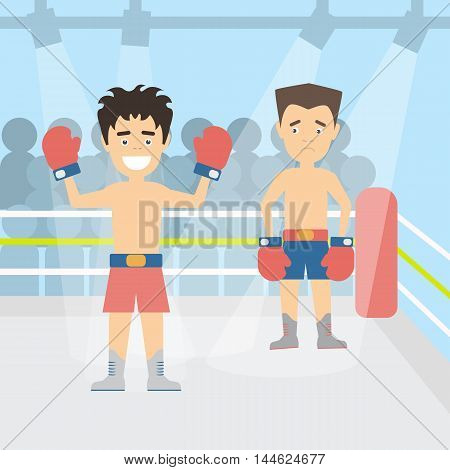 Men at the ring. Two boxers at the boxing ring. Winner and looser. Boxers in red gloves. Concept of winning, leadership and hard work.