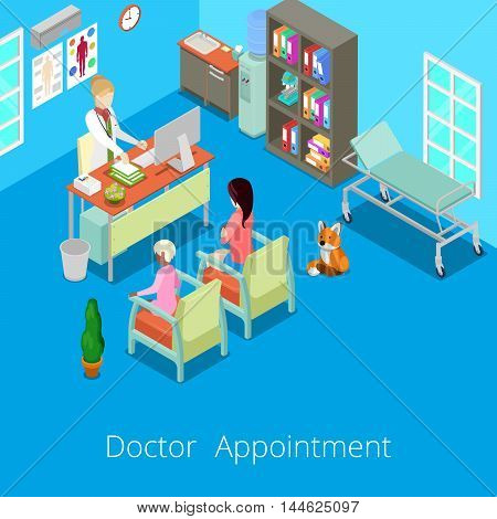 Isometric Medical Cabinet Interior Doctor Appointment with Patient. Vector illustration
