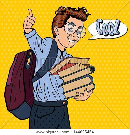 Back to School - Happy Schoolboy with Backpack and Books Gesturing Great. Pop Art Vector illustration