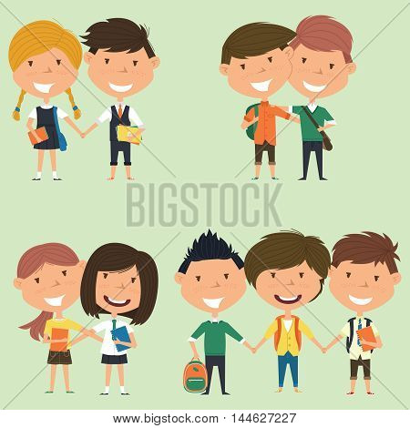 Best friends school boys and girls standing together. Joyful classmates hugging. Vector collection of kids characters. Cute pupils set.