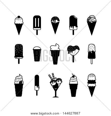 Ice cream icons. Black vector icecream signs on white background