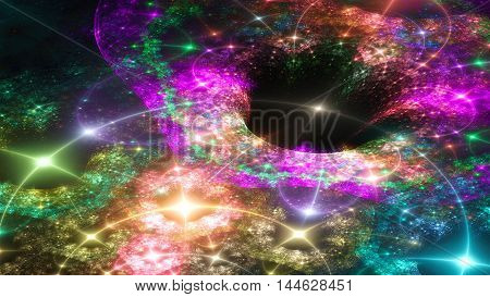 Cosmic Black Hole. Curvature space and time. 3D surreal illustration. Sacred geometry. Mysterious psychedelic relaxation pattern. Fractal abstract texture. Digital artwork graphic astrology magic