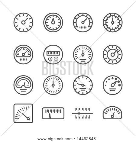 Meter manometers speed clock measure line vector icons. Indicator pressure and speedometer illustration