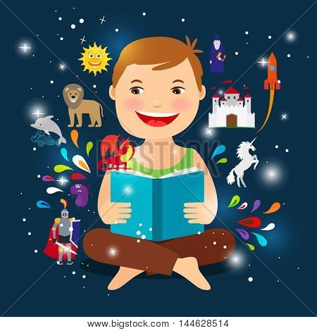 Cartoon kid reading fairy tale book. Happy boy with an open book vector illustration