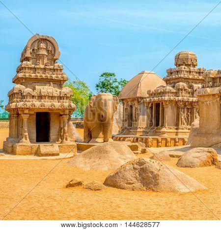 Ancient Hindu Monolithic Indian Sculptures Rock-cut Architecture Pancha Rathas - Five Rathas, Mahaba