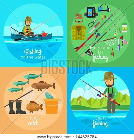 Fishing vector concept. Fisherman in boat with fishing gear and rod with bait on the hook