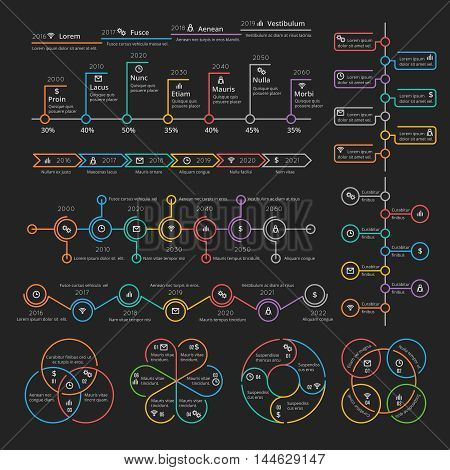 Business infographic elements collection vector timelines and charts for presentation booklet. Analytics report and diagram, color info on linear style illustration