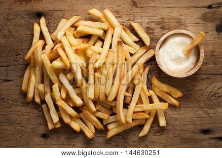 fries french sour cream still life flat lay rustic salt junk fastfood wood background poster