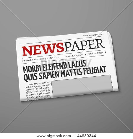 Realistic vector daily newspaper front page. Weekly tabloid with information illustration