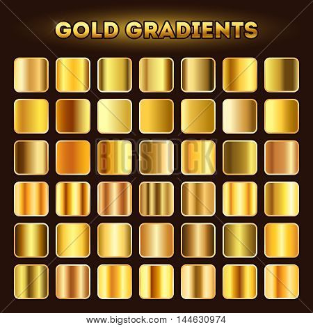Gold gradients vector. Set of golden glistening gradient shades illustration