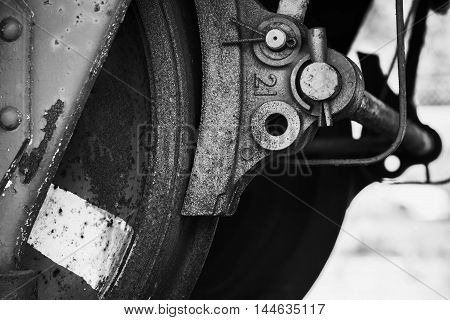 Old Wheel With Brake Details Of Railway Carriage