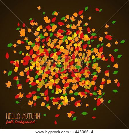 Hello Autumn. Copy space with falling leaves. Round area made of autumn leaves. Warm fall colors. Dark background. Text frame. Colorful foliage postcard in warm colors. Can be used as poster or flyer.