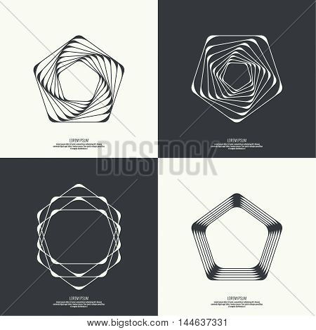 Set Abstract background with intersecting geometric shapes. Pentagon geometry. Badge, monogram, banner. Black and White. shutter