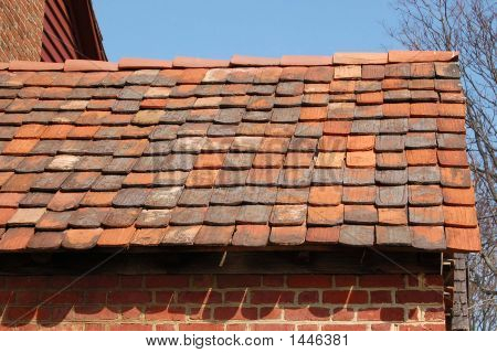 This red tile roof dates to colonial times in America. poster