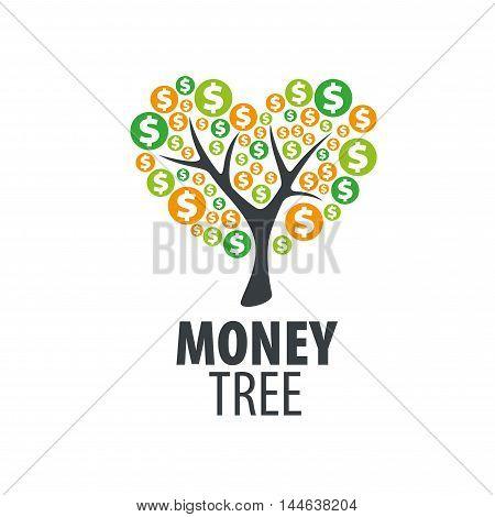 logo design template money tree. Vector illustration