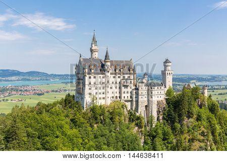 Beautiful summer view of the Neuschwanstein castle at Fussen Bavaria, Germany
