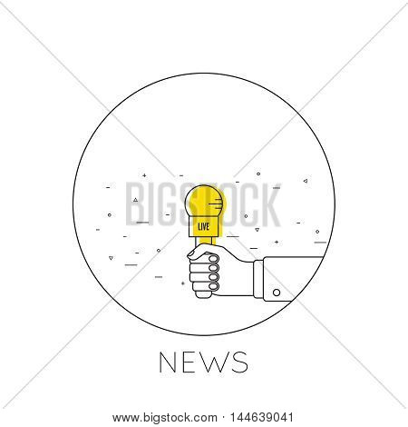 Journalism concept. Live news template with microphone. Symbol breaking news on TV radio. Journalist holding mic. interview, reporter, press, interviewer, media, paparazzi. Vector Linear design Icon
