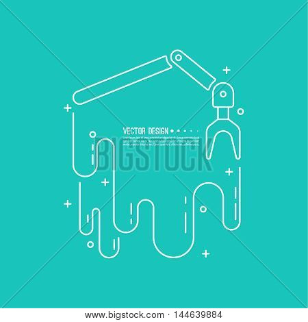 Automated robot arm with gears symbol. For the Assembly and loading of product. Vector background with banner. Automatic production process