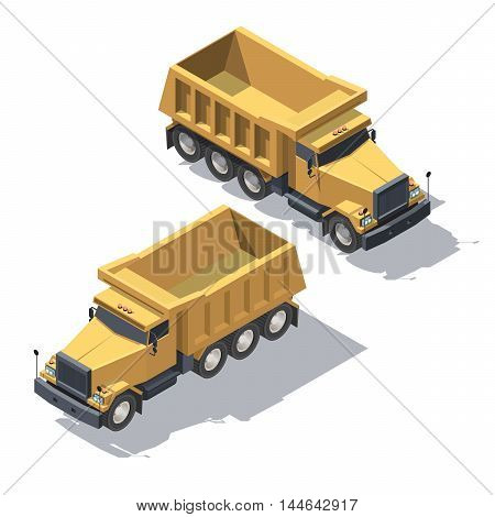 Cargo Truck tipper transportation. Vehicle for construction for infographic and game design. Isometric illustration with shadows