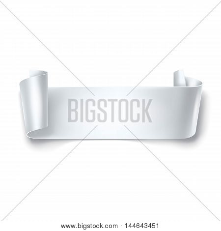 White detailed curved ribbon isolated on white background. Curved paper banner.