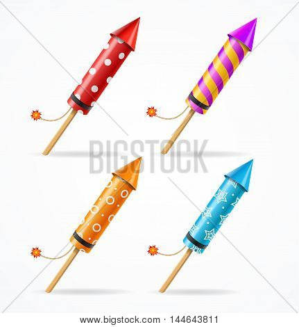 Fireworks Rocket Set. Pyrotechnics for the Party. Vector illustration