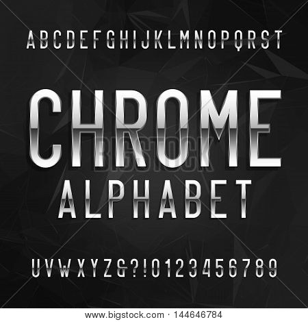 Chrome alphabet font. Metallic effect letters and numbers on a dark polygonal background. Vector typeface for your design.