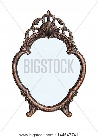 Standing mirror in a metal frame flower