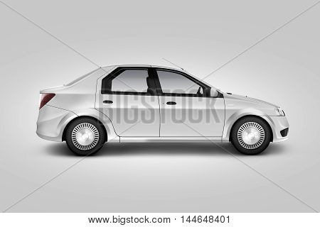 Blank white car design mockup isolated side view clipping path 3d illustration. Auto body mock up profile. Plain vechicle corporate branding. Sedan motor car presentation. Simple city machine