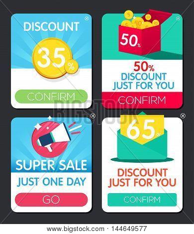 Pop-up window. Web design element. Sale Popup window. Discount Vector frame. Offer window