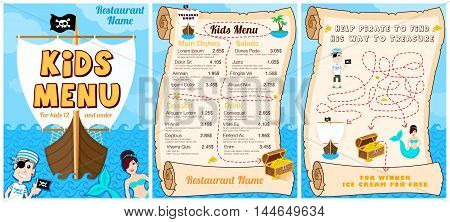 Cute colorful kids meal menu with pirates game mermaid. Vector template