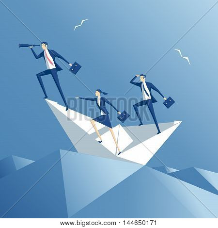 business people floating on the waves on a paper boat team on a paper ship in heavy sea business concept teamwork and risk