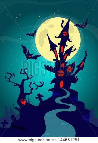 Haunted house on night background with a full moon behind. Vector Halloween background template