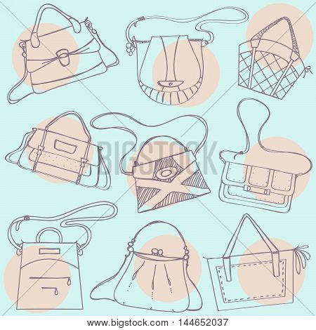 Pattern with different bags and handbags. Handbag background.