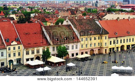 SIBIU ROMANIA - MAY 4: Top view of the main square of Sibiu old town on May 4 2016. Sibiu is the city located in Transylvania region of Romania.