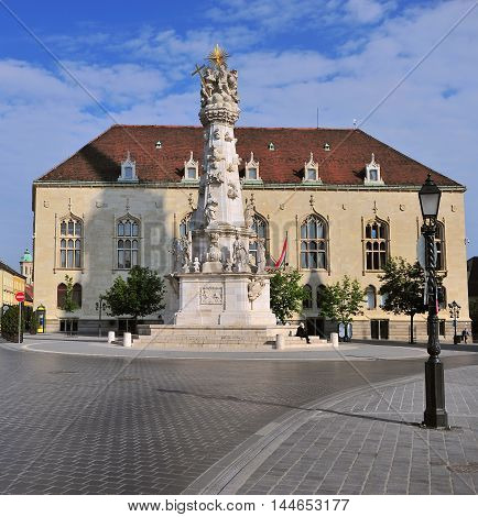 Monument and townhall of Buda town Hungary