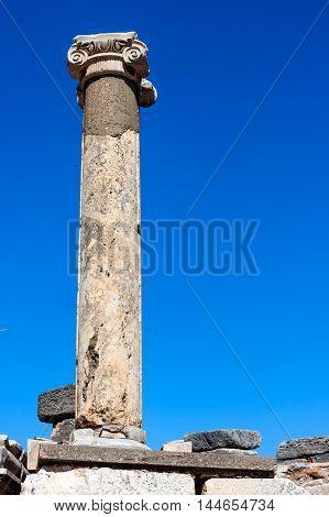 Ephesus Ancient Column against the blue sky