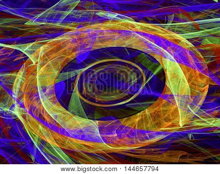 Abstract digitally generated colored chaos background with circles and curves lines of randomly arranged