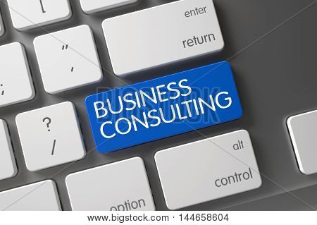 Business Consulting Concept Modern Laptop Keyboard with Business Consulting on Blue Enter Key Background, Selected Focus. 3D Illustration.