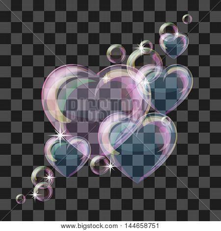 Heart-shaped transparent clean realistic soap water bubble. Vector illustration