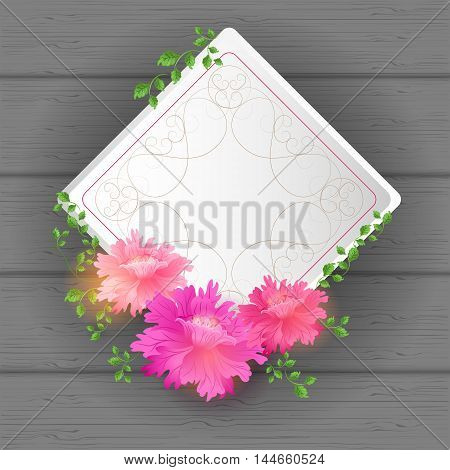 Flowers Postcard with vintage tag and florish border frame