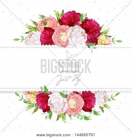 Burgundy red and white peonies pink ranunculus rose vector design frame. Natural card with dotted backdrop. Delicate floral background. All elements are isolated and editable.