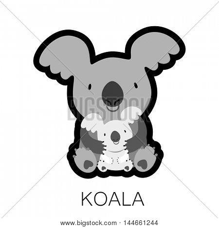 KOALA. Mom hugging baby. Australian marsupial bear. Vector Illustration.