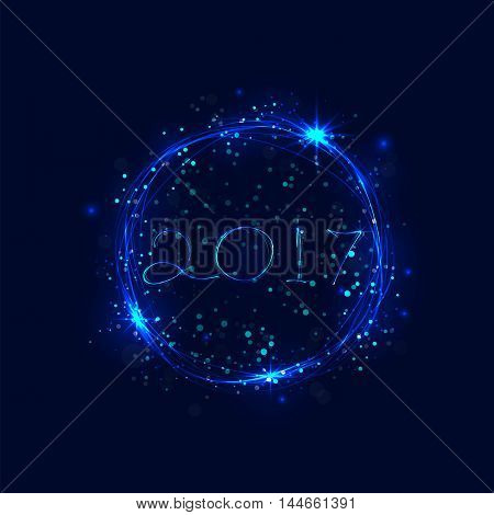 Happy new year 2017 holiday background.2017 Happy New Year greeting card.Happy new year 2017 and abstract burning circles with glitter swirl trail effect on background.Vector illustration