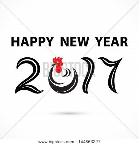 201 and 7 and chicken sign with holiday background concept.Happy new year 2017 holiday background.2017 Happy New Year greeting card.Vector illustration
