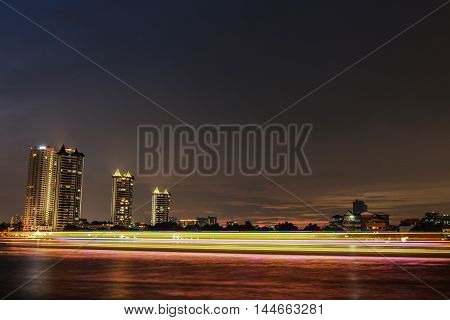 City Landscape At Night. Asiatique Riverfront Bangkok,Thailand.