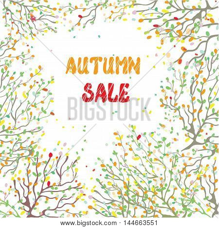 Autumn sale card with leaves and branches hand drawn design vector illustration