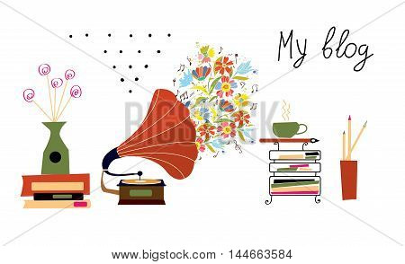 Music blog banner with gramophone and vintage objects - vector graphic design