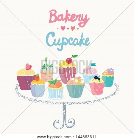 Cupcakes and bakery funny card - hand drawn vector graphic design