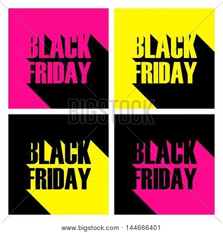 Set of bright Black Friday banners with long shadow for business, promotion and advertising. Vector illustration.